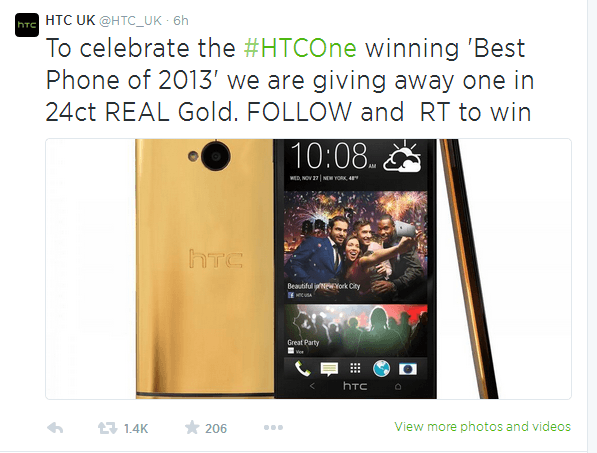 win htc one gold